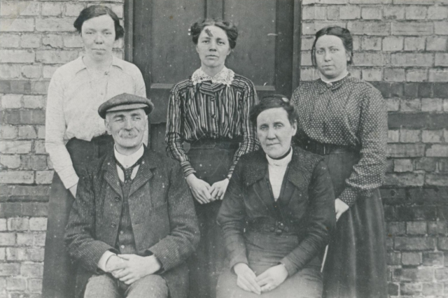Thurlby Board School. Miss Inkley, Mrs George Wade,Mrs Charlie Stephenson,Mr John Davies (Headmaster), Mrs Scragg